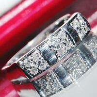 14k white gold ring 0.36ct natural diamond size 6.5 band vintage handmade 3.2gr