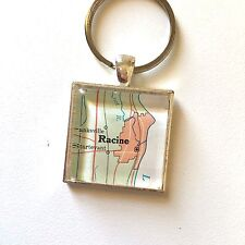 RACINE WISCONSIN USA STURTEVANT Map Square keychain key ring ATLAS