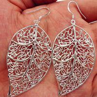 925 Sterling Silver Plated Lady Hoop Dangle Earring Link Jewelry Leaves Eardrop