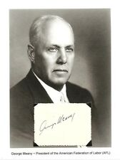 George Meany Autograph President AFL CIO Labor Union World Federation Trade Unio