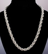 Double Spiral Handmade Chain Maille Necklace Sterling Silver 21 Inch Chainmail
