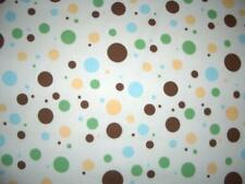 Polka Dots Brrown Blue  Green Tan White 100% Cotton Quilt Fabric BTY