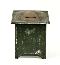 New ListingVintage Antique Pressed Steel Square Box Green Metal Coin Bank 4""