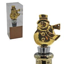 Christmas Character Gold Wine Bottle Stopper Cork - Snowman B