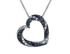 1/4 карат белый и черный бриллиант сердце кулон в стерлингового серебра с цепочкой