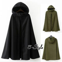 Women Winter Long Cape Cloak Hooded Thin/Thick Coat Sleeveless Poncho Cardigan