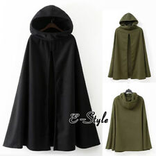 Womens Long Cape Cloak Hooded Wool Blend Coat Sleeveless Winter Poncho Cardigan