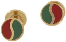 Vintage Gold Tone Barbell Burgundy Red Green Cufflinks Hayward Signed