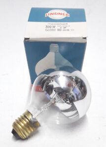 Lindner Bulb 100w E27 235v Globe Lamp Light G80 Silver Ring Mirrored Nos Germany