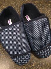 Silverts Diabetic Edema Slippers Shoes Mens X Wide Size 8 Blue/Black 10105 GUC