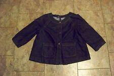 womens ak anne klein dark wash 3/4 sleeve denim swing jeans jacket size small
