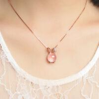 Women Newest Jewelry Cute Pink Lotus Stone Rabbit Shape Pendant Chain Necklace