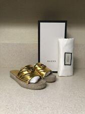 Gucci Pilar Espadrille Slide Sandal Gold 38 / 8