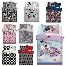 Disney Character Spiderman Mickey Mouse Reversible Duvet Cover Kids Bedding Set