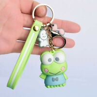 Cute 3D Kerokerokeroppi Keychain Key Chain Charm Car Bag Green Frog Doll Keyring