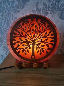 Salt Lamp Electric Tree Pattern Design Himalayan Salt Lamp Wooden Base Christmas