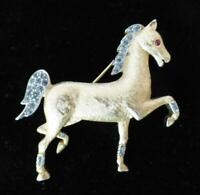 CROWN TRIFARI Gold-tone Black Diamond Rhinestone Horse Brooch-Red Cabochon Eye