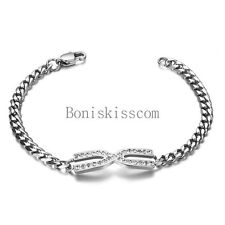 Infinity Charm Stainless Steel Curb Chain Link  Bracelet 7.5 Inch Ladies Gift