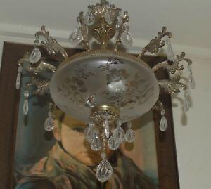 Chandelier vintage 1960 bohemian crystal MidCentury