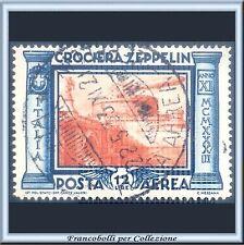 1933 Italia Regno Posta Aerea Crociera Zeppelin L. 12 azzurro arancio n 48 Usato