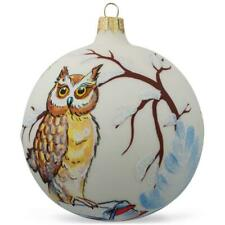 Owl in Winter Bird Glass Ball Christmas Ornament 4 Inches