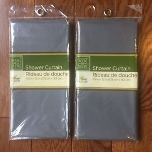 2 Shower Curtains Solid Grey Gray Home Collection Polyethylene Lightweight 70x72