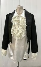 Steampunk Gothic Black Military Tail Jacket With Satin Pirate Shirt XL
