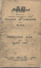ATLAS DIESEL 2 fase COMPRESSORE D'ARIA TIPO mk35d Instruction Book & elenco parti