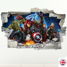 3D  AVENGERS Wall Sticker Decal Vinyl Art HOLE IN WALL A4
