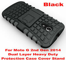 Black Heavy Duty Tradesman Strong Case Cover For Motorola Moto G 2nd Gen 2014