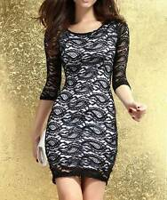 Sexy Womens Black Cocktail Dress Lace Formal Knee Length Club Rock Chick Glamour