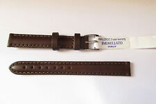 MORELLATO PADDED BROWN NATURAL LEATHER 12MM WATCH STRAP BAND SILVER TONE  BUCKLE