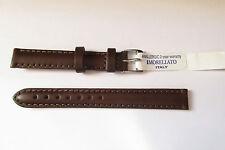 MORELLATO imbottito Brown in pelle naturale 12MM Watch Strap Band Fibbia D'Argento Tono