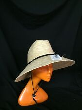 Wide brim crushable straw hat; terrycloth elastic sweatband; chinstrap