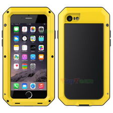 Waterproof Aluminum Metal Case Cover Tempered Glass for iPhone 5 6 7 8 Plus X for Samsung Galaxy S5 Yellow Yes