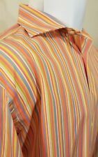Etro Milano Striped Long Sleeve Shirt Mens 45 EUC Multi Color Made in Italy 3XL