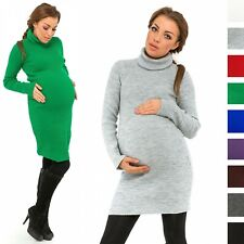 Happy Mama Women's Maternity Stretchy Ribbed Knit Dress Roll Turtle Neck. 417p