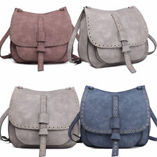 Women Fashion PU Leather Satchel Faux Suede Cross Body Shoulder Saddle Bag
