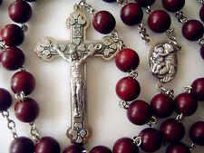 Rare Red Sandalwood Beads rosary crucifix Cross necklace case gift box CATHOLIC