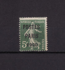 timbre France préoblitéré  Semeuse  POSTES PARIS 1920  5c vert  n° 24  oblitéré