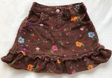 Hanna Andersson Skirt Girls Size 3 EUC Brown Velour w/ Floral Print