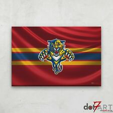 """36""""X24"""" Florida Panthers - 3D Badge over Silk Flag Open Edition Print"""