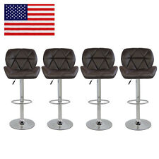 Set Of 4 Bar Stools Pu Leather Adjustable Swivel Hydraulic Counter Height Chair