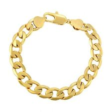 "9ct 9K Yellow ""Gold Filled"" Heavy Curb Ring links Bangle Bracelet L=9.8"" W=12mm"