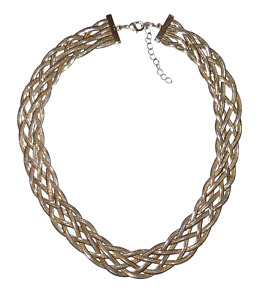 Beautiful Six Strand Gold-tone Woven Chains Necklace.