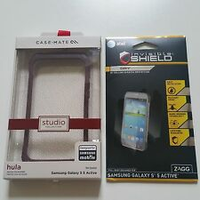 Case-Mate Samsung Galaxy S5 Active Plum Hula Bumper Case w' ZAGG FullBody Screen
