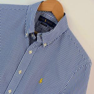 Mens Ralph Lauren Blue White Stripe Classic Fit Short Sleeve Shirt Size M Medium