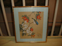Chinese Japanese Drawing Woodblock Print Bluebird Flowers Stamped Signed