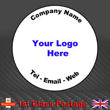 150 Round Personalised Business Stickers - Printed Logo, Email, Address Labels