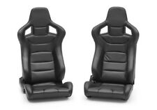 Pair of Black PU Leather Reclining Sport Seats + Racing Seats + Bucket Seats